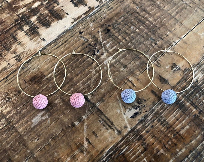Pom Pom Ball Hoop Earrings. Hoop Earring. Dangles. Ball Dangles
