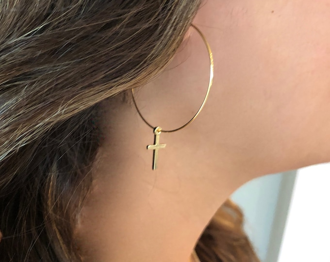 Dangle Cross Earrings. Hoop Earrings.