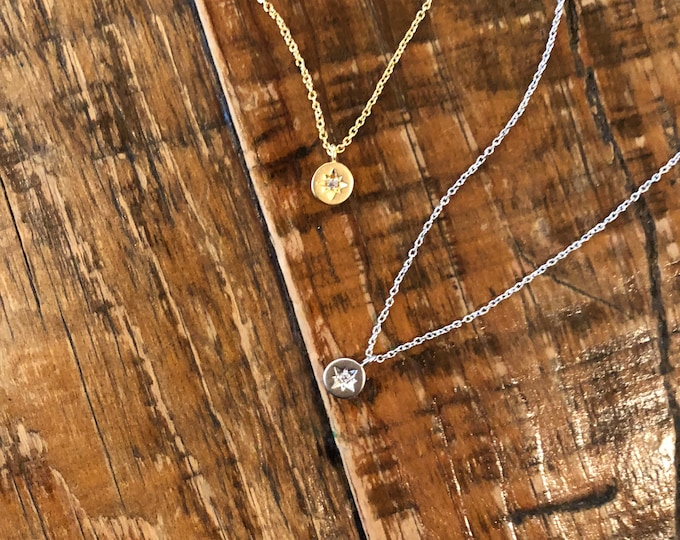 Tiny North Star Pendant. Gold North Star. Silver North Star.