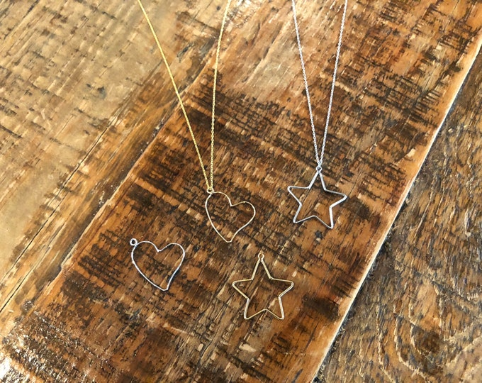 Heart. Star. Pendant. Wire Pendant. Minimalist Necklace. Everyday Necklace.