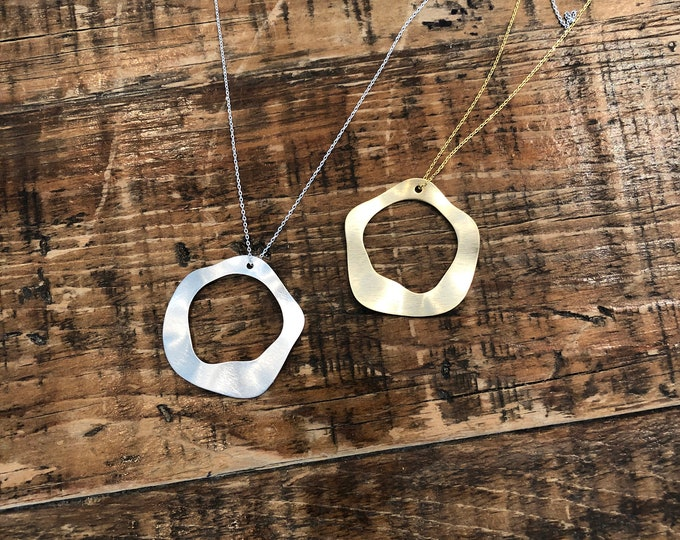 Wavy Matte Circle Pendant. Circle Necklace. Layering Necklace