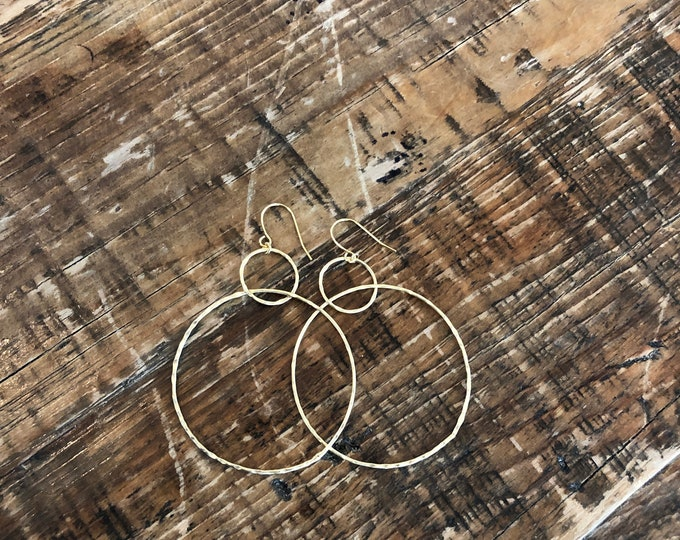 Large Hammered Double Hoop Earrings. Hoop Earrings