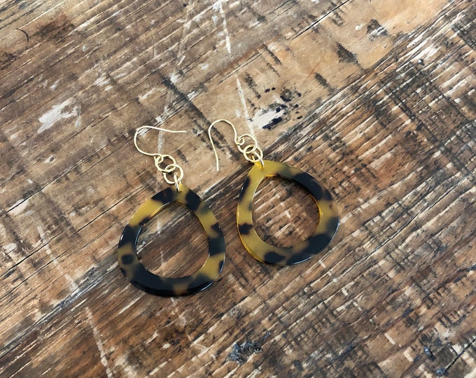 Leopard Print Hoop Earrings. Tortoise Shell Hoop Earrings.