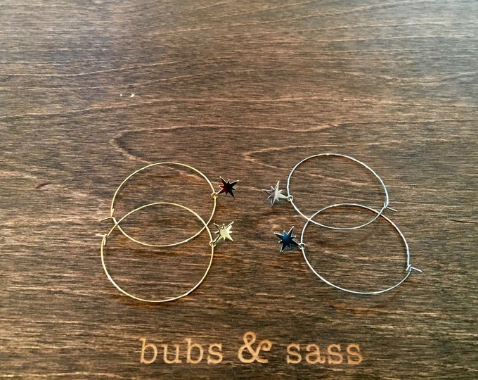 Starburst Hoop Earrings. Wire Hoops. Star Hoops. Boho. Minimalist. Silver Hoops. Gold Hoops