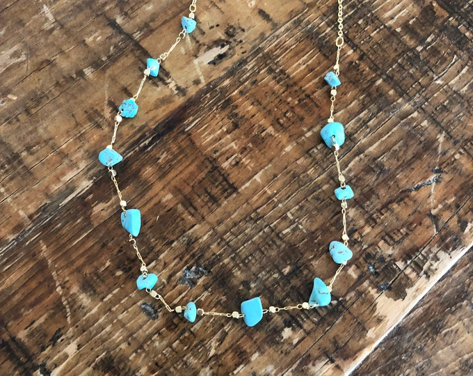 Turquoise and Gold Beaded Choker