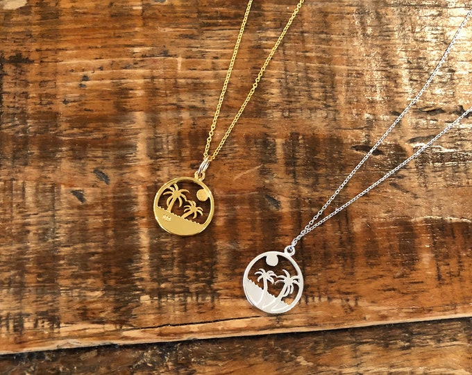 Palm Tree. Sun. Charm Necklace. Gold. Silver. Summer Necklace. Everyday Necklace.