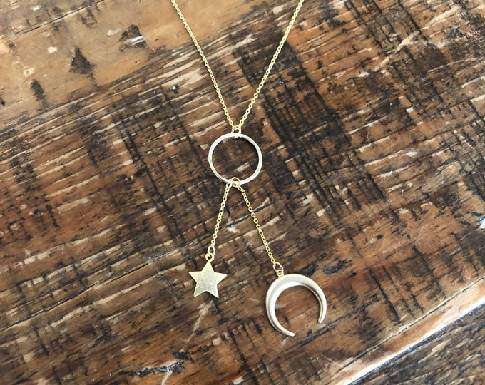 Moon and Star Hanging Pendant Necklace. Layering Necklace. Eternity Ring.