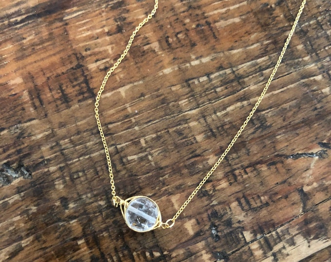 Wire Wrapped Crystal Quartz Necklace.