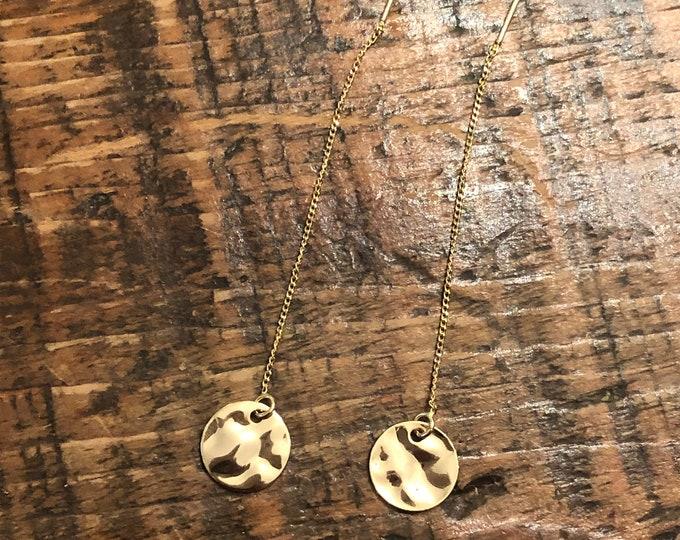 Threader Dangle Earrings. Gold Coin Dangle Earring. Fresh Water Pearl Dangle Earring