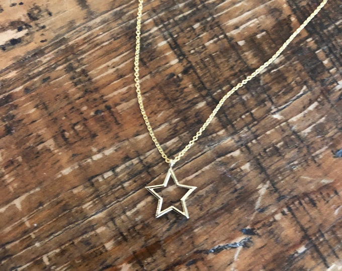 Star Necklace. Star Pendant Necklace.