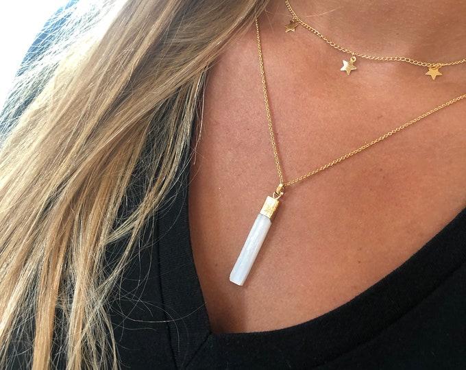 Long White Gemstone Bar. Layering Necklace. Long White Stone Necklace
