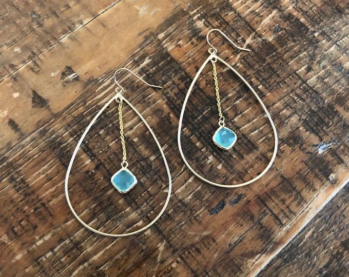 Teardrop Glass Stone Dangle Hoop Earrings. Gem Stone Dangle Hoop Earrings.