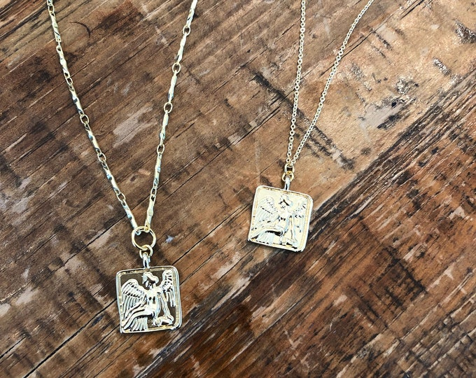 Angel Coin Necklace. Square Coin Necklace.