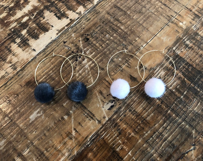 Faux Fur Hoop Earrings. Fur Ball Earrings. Hoop Earrings.
