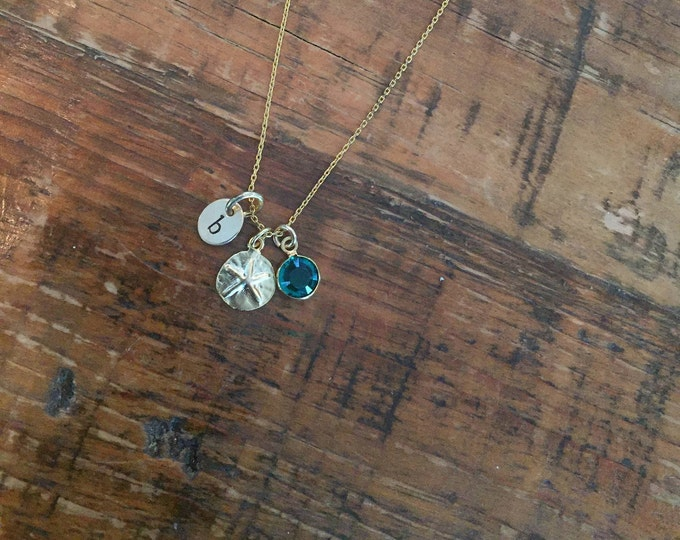 Tiny Sand Dollars. Silver and Gold. Charm Necklace. Choker