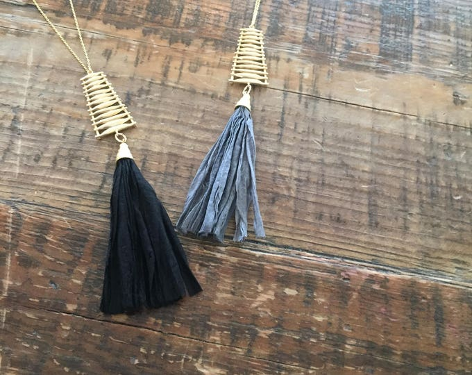 Sari Silk Tassel with Artistic Connector. Matte Gold Plated.