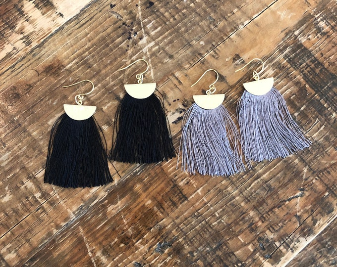 Half Moon Tassel Earrings. Fan Earrings. Tassel Earrings