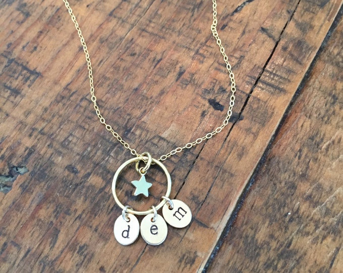 "The ""SuperStar"" Necklace. Tiny star pendant. Hand stamped initials. Circle eternity ring. Personalized. Custom hand stamped."