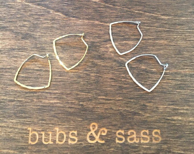 Triangle Hoop Earrings. Triangle Ear Wires. Small Geometric Hoop Earrings. Hammered.