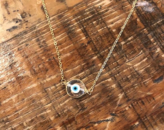Crystal Gemstone Evil Eye Necklace. Evil Eye.