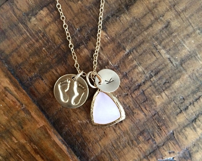 Baby girl necklace for mom. Hand stamped. 14k gold filled or Sterling Silver. Pink gemstone. Baby feet.
