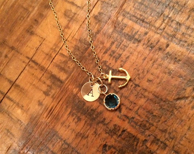 Anchors Away. Small Dark Blue Framed Glass, Hand Stamped Initial Charm. Anchor Charm.