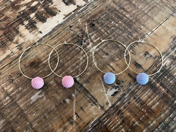 pom pom ball hoop earrings