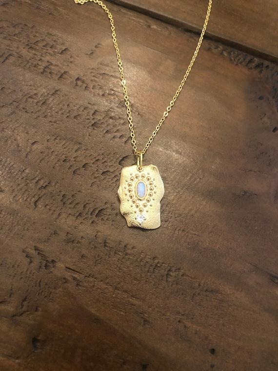 square charm necklace. opal glass charm necklace. vintage necklace