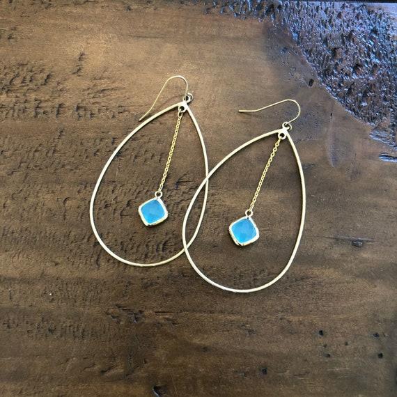 teardrop glass stone dangle hoop earrings
