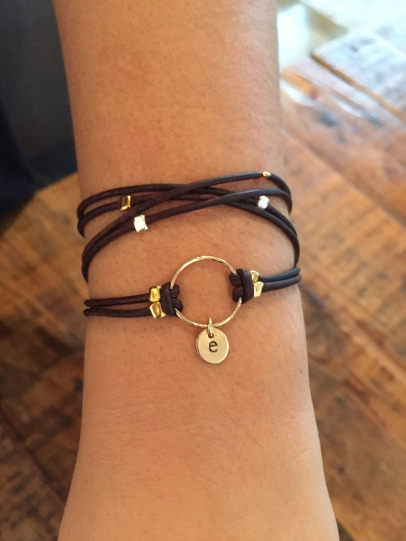 leather wrap with initial bracelet