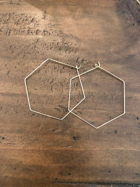 hexagon hoops. large hoop earrings. large geometric hoop earrings