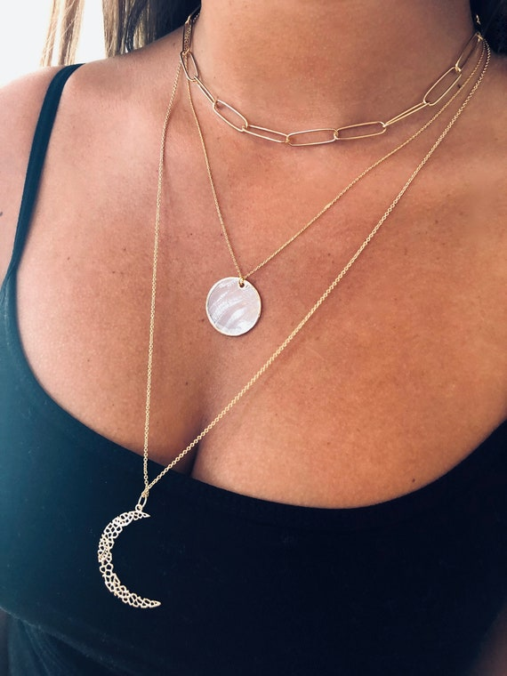Sheer Mother of Pearl Pendant. Pearl Slice Pendant. Pearl Necklace.
