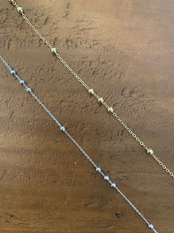 gold silver beaded choker necklace