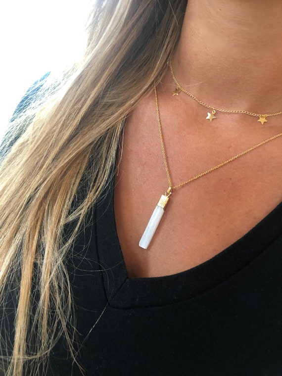 Long White Gemstone Bar. Layering Necklace. Long White Stone Necklace
