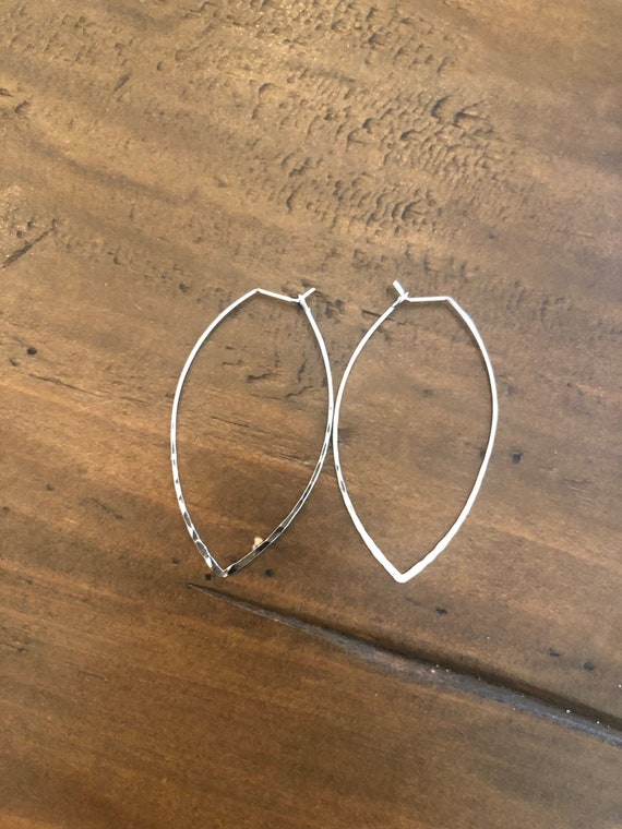 hammered marquise wired earrings