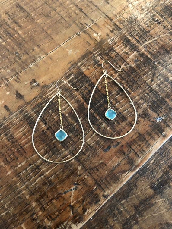 teardrop glass stone dangle hoop earrings