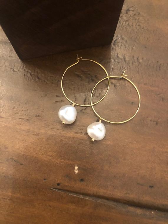 baroque pearl hoop earrings. pearl earrings. pearl hoops. hoop earrings