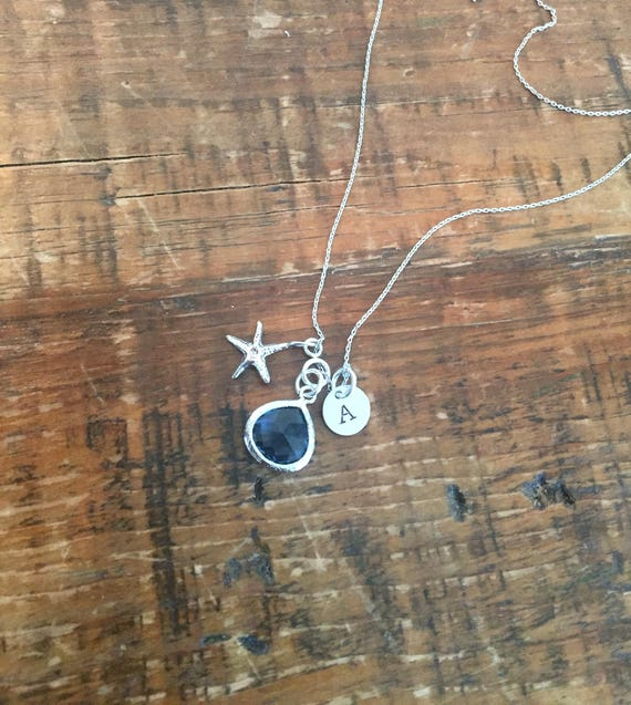 Emerald & Sapphire. Glass Gemstone. Starfish. Initials. Charm Necklace