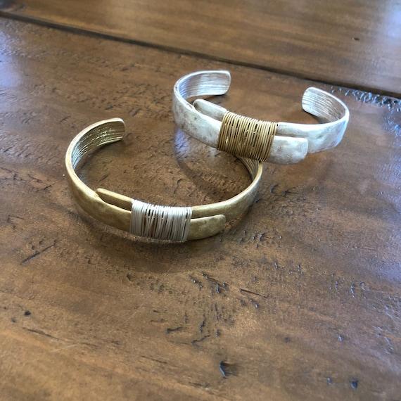 hammered wire wrapped cuff bracelet. hammered bracelet.