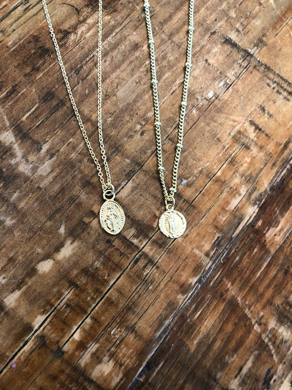 small mary coin necklace