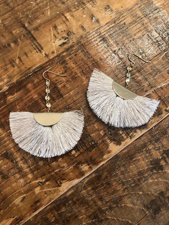 tassel earrings. fan earrings