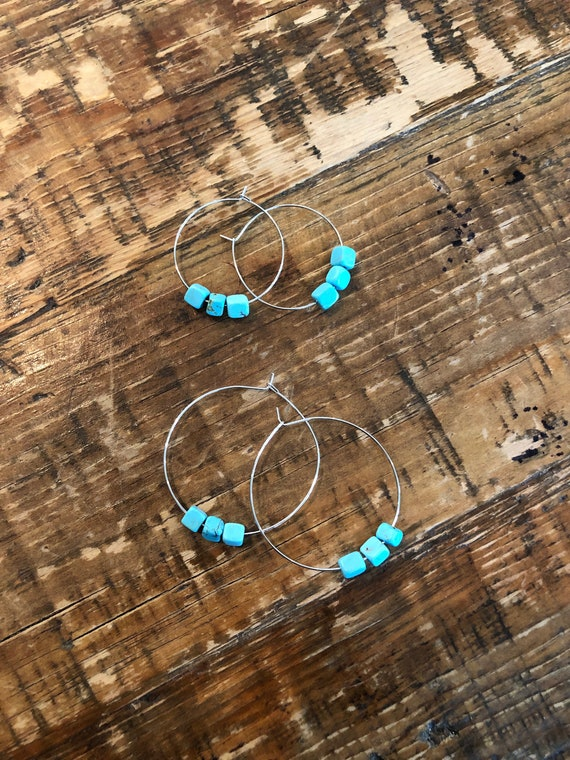 Turquoise Bead Hoop. Ear Wires. Turquoise Earring. Hoop Earring. Boho Earring