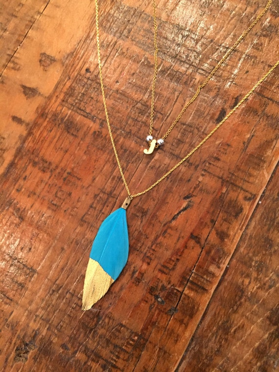 Silver and Gold Dipped Feather Necklace