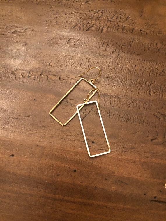 rectangle earrings. geometric hoops. minimalistic hoops.