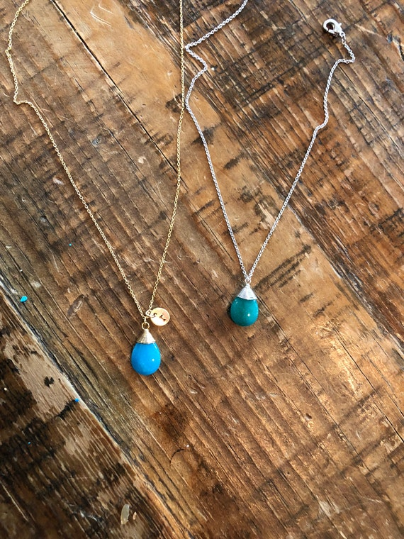 light blue jade. turquoise. mint jade.  wire wrapped drop charm. initial necklace.