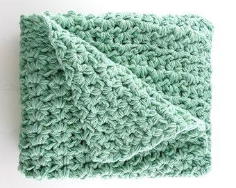 Baby Crochet Blanket – Crocheted Baby Throw – Receiving Blanket – Mint Afghan – Handmade Baby Gift – Baby Shower Present – New Born Throw