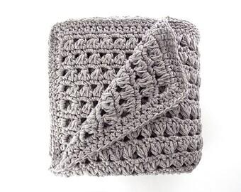 Crochet couverture-couverture faite main – laine jet – gris couvre-lit-alpaga couverture – grand lit fin Plaid – Baby Shower Gift-luxe à carreaux