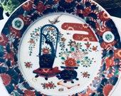 IMARI DECORATIVE PLATE, Chinoiserie Decor, Blue White, Hand Painted
