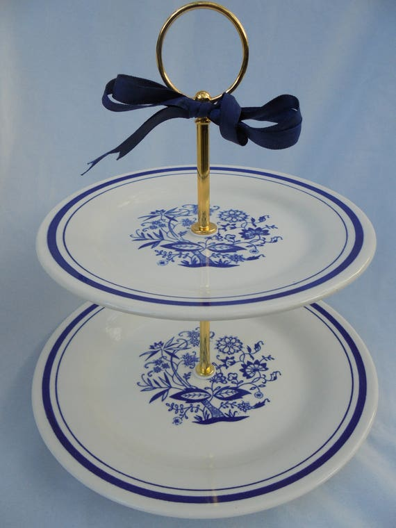 blue white wedding 2 tier cake stand blue willowoxford 1921 etsy
