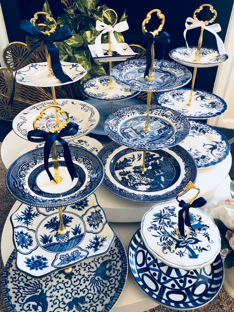 VINTAGE WEDDING BLUE Willow Chinoiserie Cake Stand Serving image 0